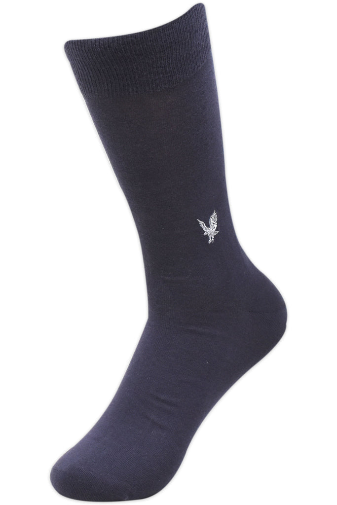 Balenzia Men's Embroidered Premium Mercerised Cotton Socks -Black, Dark Grey, Light Grey, Navy, Beige- Pack of 5 - Balenzia