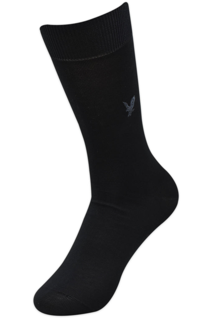 Balenzia Men's Embroidered Premium Mercerised Cotton Socks -Black, Navy, Dark Grey- Pack of 3 - Balenzia