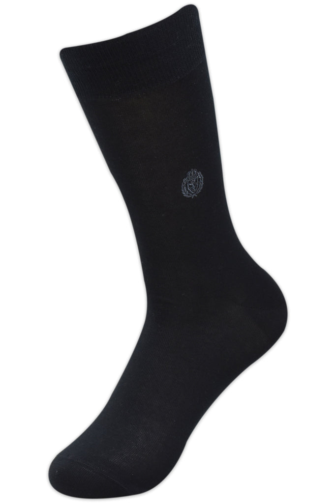 Balenzia Men's Embroidered Premium Mercerised Cotton Socks -Black, Dark Grey, Light Grey, Navy- Pack of 4 - Balenzia