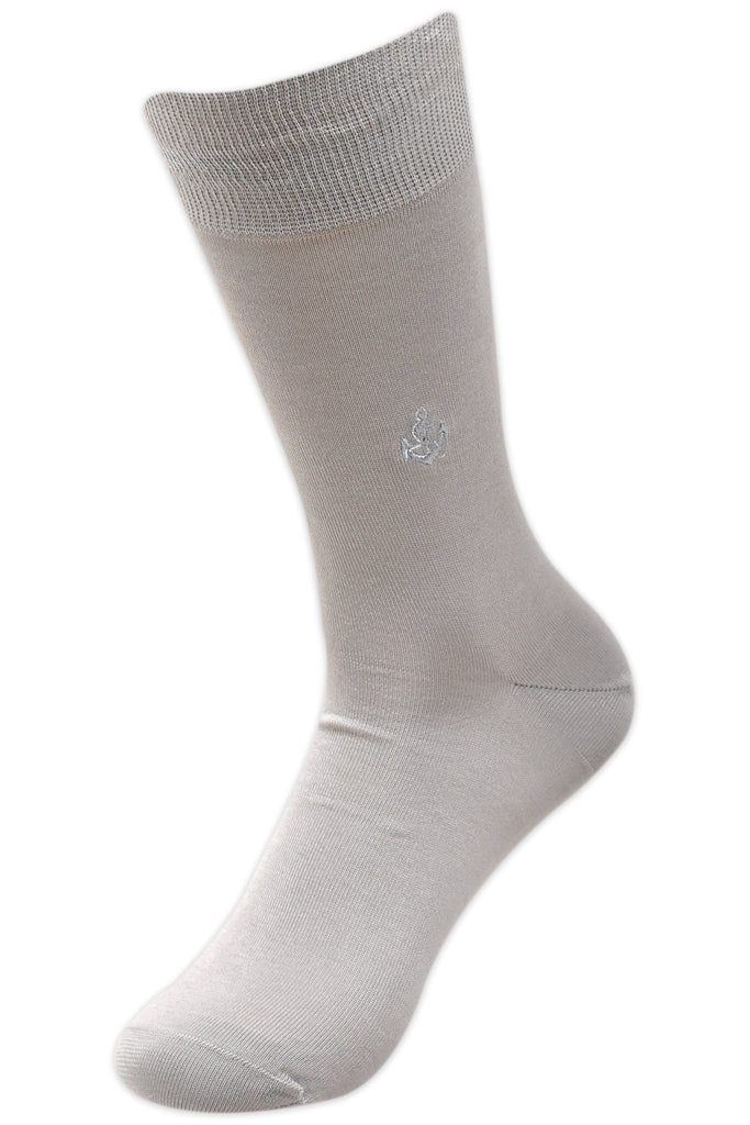 Balenzia Men's Embroidered Premium Mercerised Cotton Socks -Navy, Light Grey, Dark Grey- Pack of 3 - Balenzia