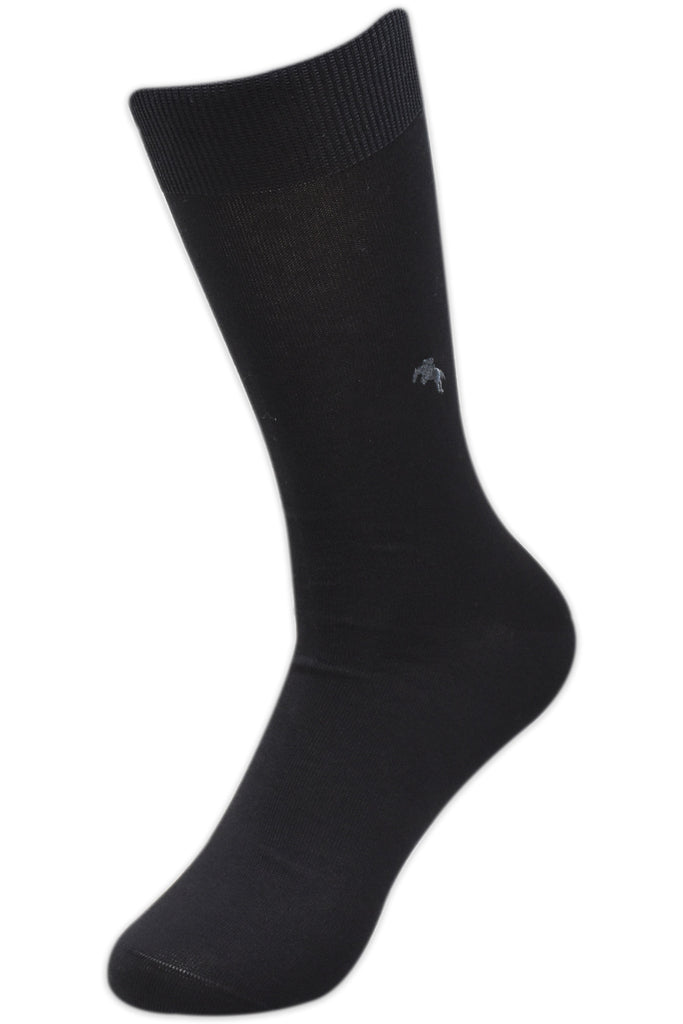 Balenzia Men's Embroidered Premium Mercerised Cotton Socks -Navy, Black, Beige- Pack of 3 - Balenzia