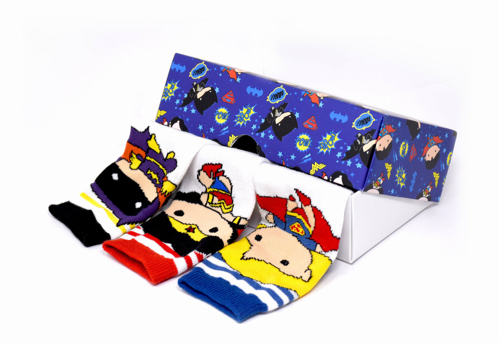 Justice League's Chibi By Balenzia Crew Socks for Kids- Pack of 3(1-2 Years) - Balenzia