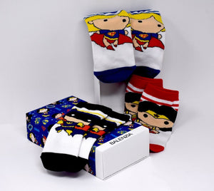 Justice League's Chibi Gift Pack for Kids-Crew Socks(1-2 Years) - Balenzia