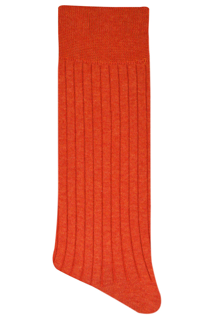 Balenzia Premium Mercerised Crew Rib Socks For Men- Pack Of 1(Orange) - Balenzia