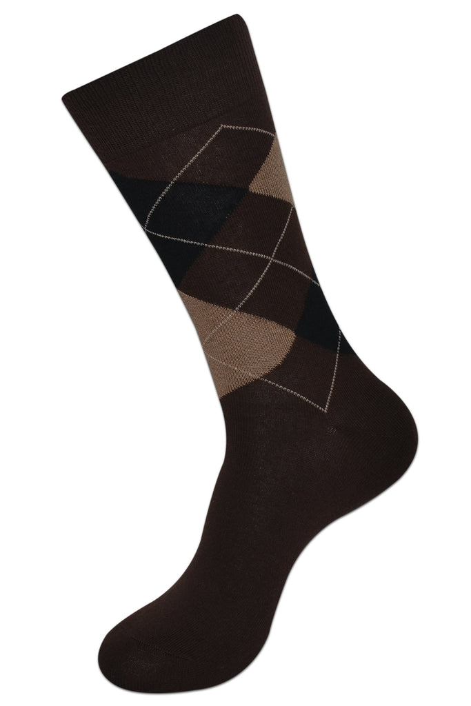 Balenzia Men's Classic Argyle Socks- Pack of 3 (Black,D.Grey,Brown) - Balenzia