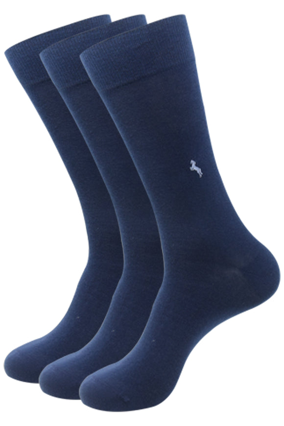 Balenzia Men's Formal Organic Cotton Socks- Navy- Pack of 3 - Balenzia