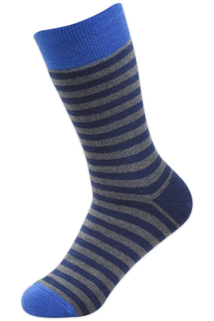 Balenzia Men's full Cushioned Cotton Striped Crew Socks- Light Grey,Dark Grey, Navy-Pack of 3 - Balenzia
