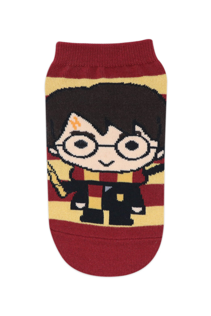 Balenzia x Harry Potter Chibi Stripes & Colour Block lowcut Socks for Women (Pack of 2)- Red & Yellow - Balenzia