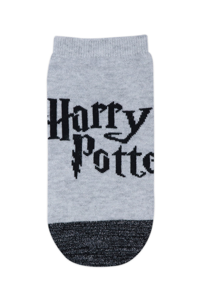 Balenzia x Harry Potter Harry Potter Logo & Hogwarts Castle Silver Lurex Socks for Women (Pack of 2)- Silver - Balenzia