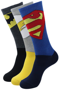Justice League Men's Sports Socks - Superman, Batman, Flash - Pack of 3 - Balenzia