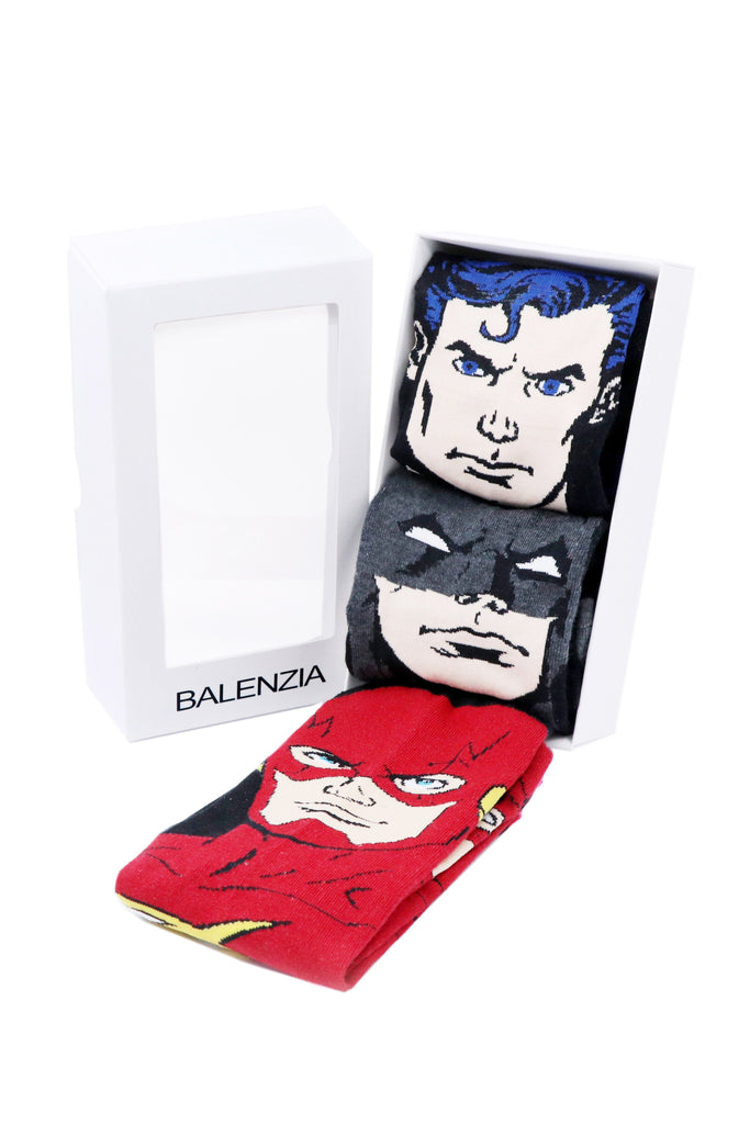 Justice League Gift Pack for Men-Superman, Batman, Flash -Crew Socks - Balenzia