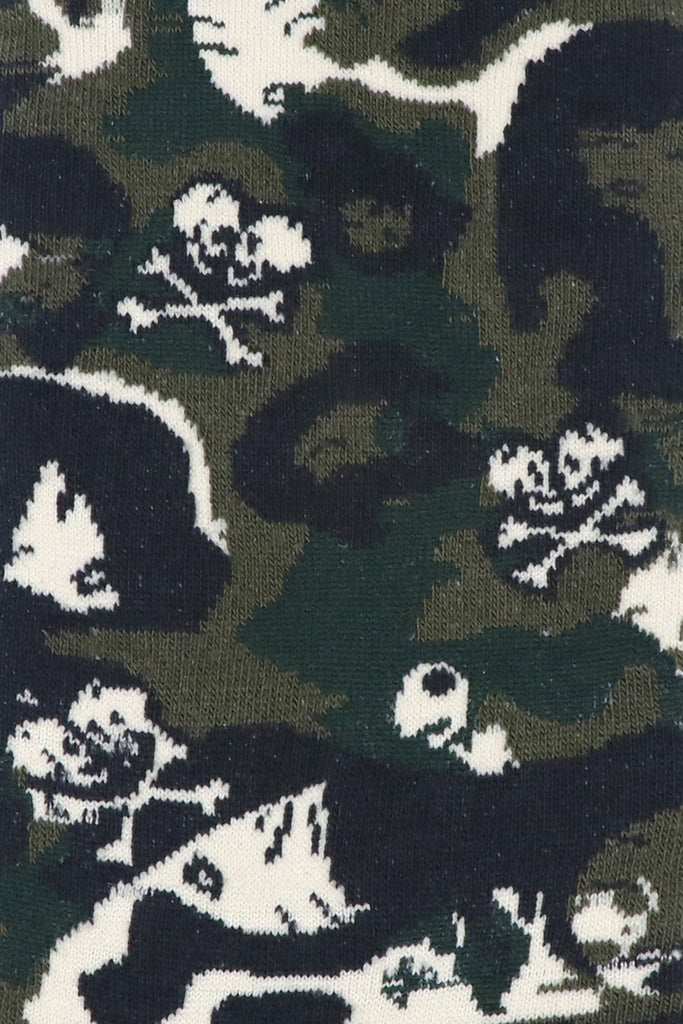 Balenzia x Tokidoki Camo Pattern Double Skull Crew Socks for Men (Pack of 2)- Blue,Olive - Balenzia
