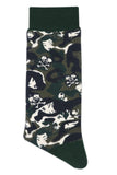 Balenzia x Tokidoki Camo Pattern Double Skull Crew Socks for Men (Pack of 2)- Olive,Orange - Balenzia