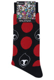Balenzia x Tokidoki Adios Crew Length socks for Men (Pack of 3)- White,Black,Red - Balenzia