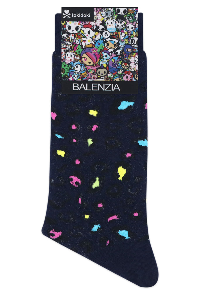 Balenzia x Tokidoki Pattern Leo Crew Socks for Men (Pack of 2)- Navy,Blue - Balenzia
