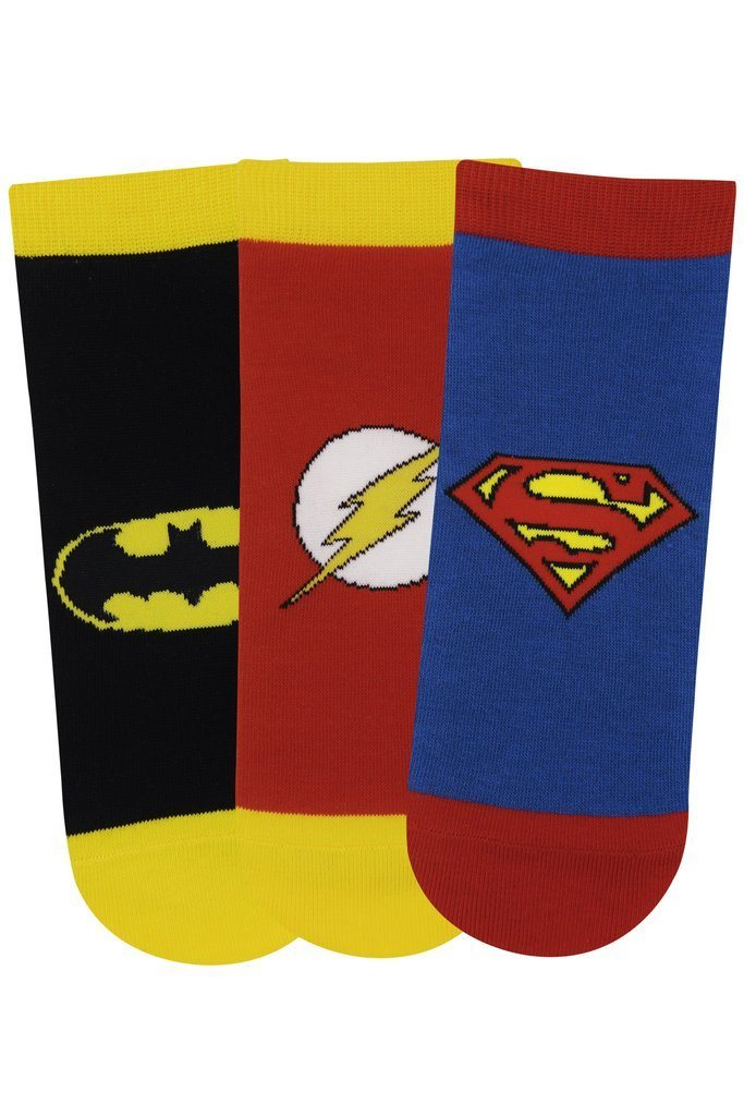 Justice League Gift Pack for Kids-Superman, Batman, Flash-Lowcut Socks(13-15 Years) - Balenzia
