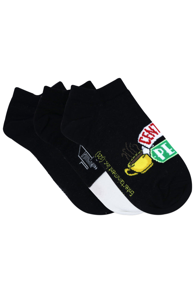 Balenzia x Friends Friends Logo & Central Perk Lowcut Socks for Women (Pack of 3) - Black - Balenzia