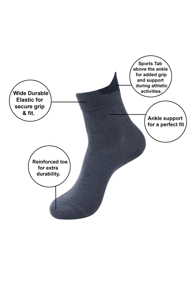 Balenzia Men's Cotton Solid High Ankle Socks, Gym Socks Free Size, Pack of 3 (L.Grey,Navy,D.Grey) - Balenzia