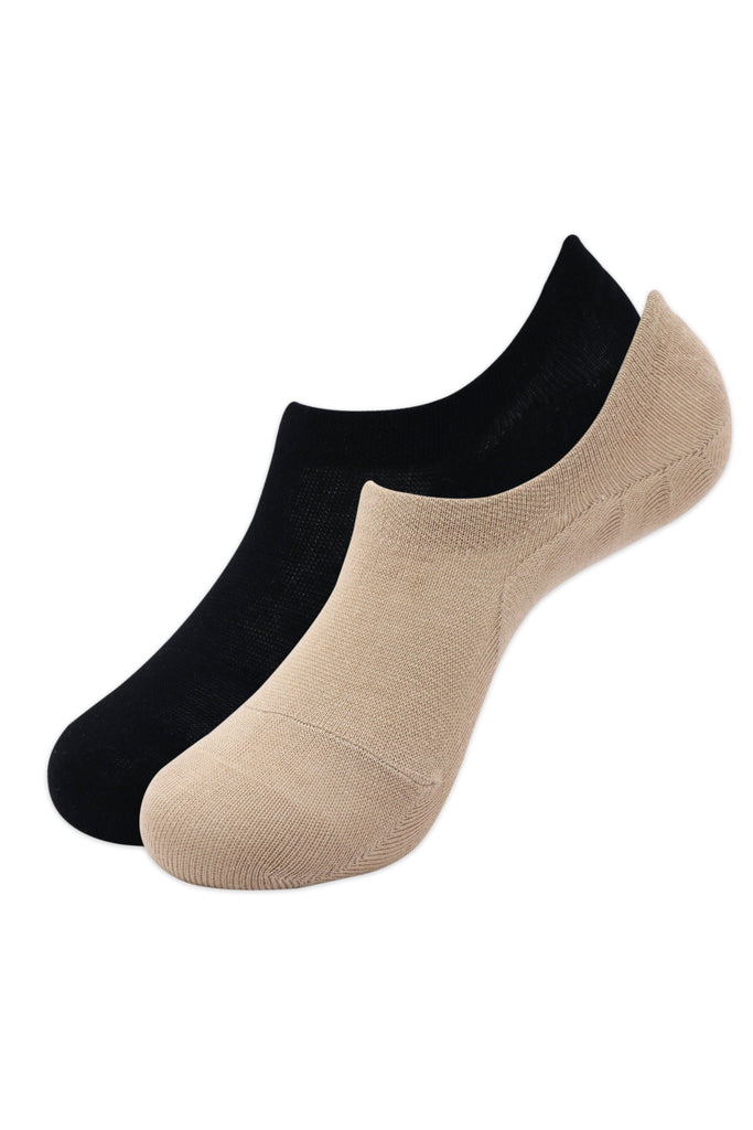 Balenzia Men's Cotton Sneaker Socks with Anti-Slip Silicon System - Pack of 2 (Black,Beige) - Balenzia