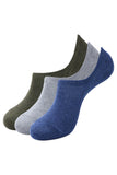 Balenzia Men's Cotton Sneaker Socks with Anti-Slip Silicon System- Pack of 3 (Navy,Olive,L.Grey) - Balenzia