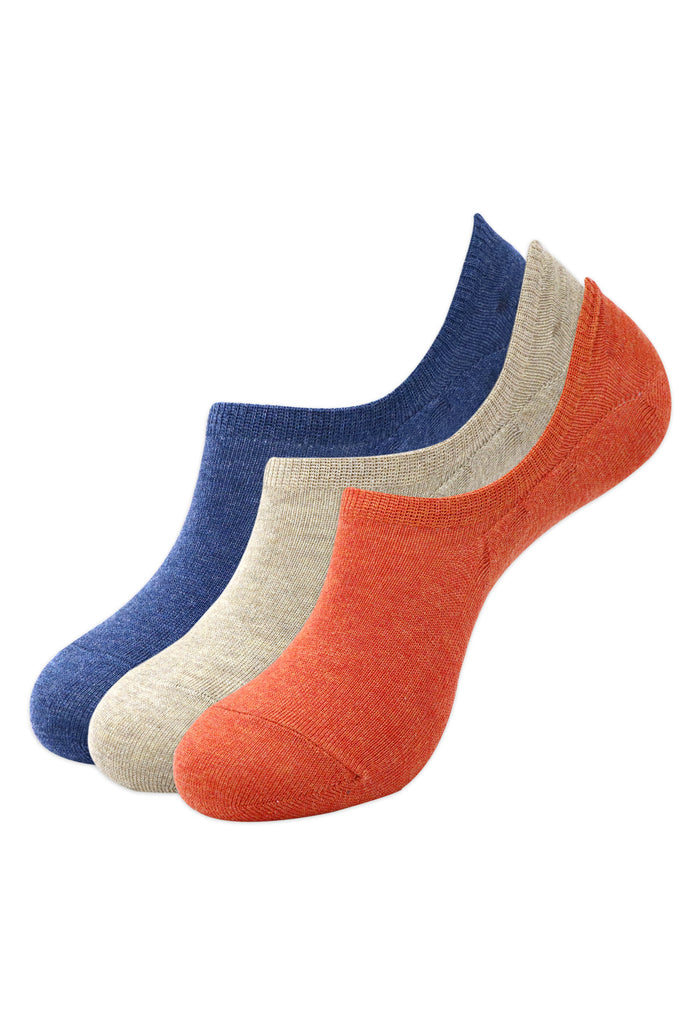 Balenzia Men's Cotton Sneaker Socks with Anti-Slip Silicon System- Pack of 3 (Orange,Beige,Navy) - Balenzia