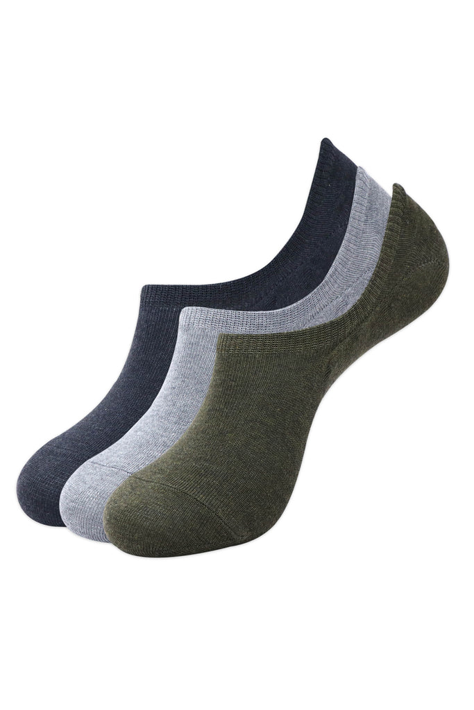 Balenzia Men's Cotton Sneaker Socks with Anti-Slip Silicon System- Pack of 3 (D.Grey,Olive,L.Grey) - Balenzia
