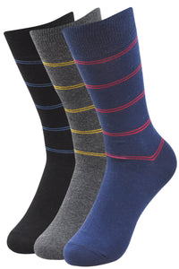 Balenzia Men's Formal Striped Crew Socks-3 Pair Pack - Balenzia
