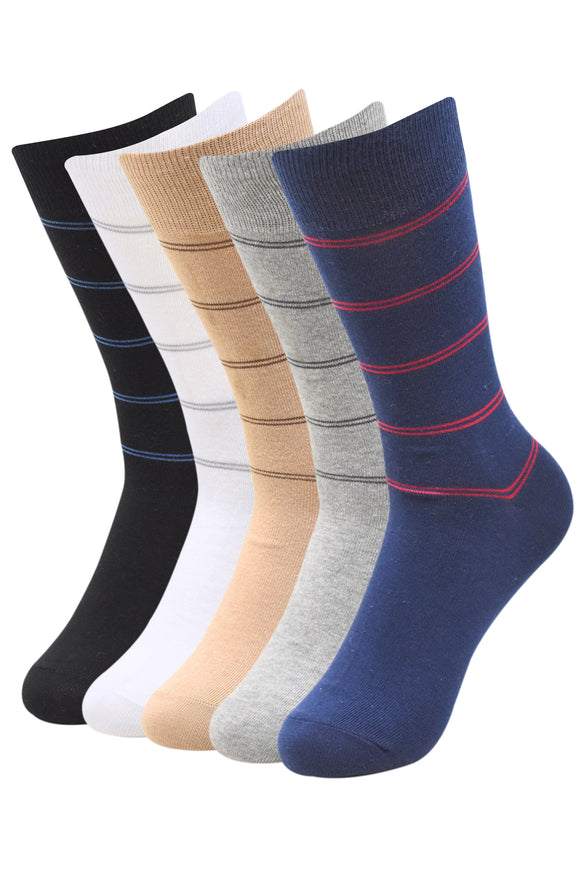 Balenzia Men's Formal Striped Crew Socks-5 Pair Pack - Balenzia