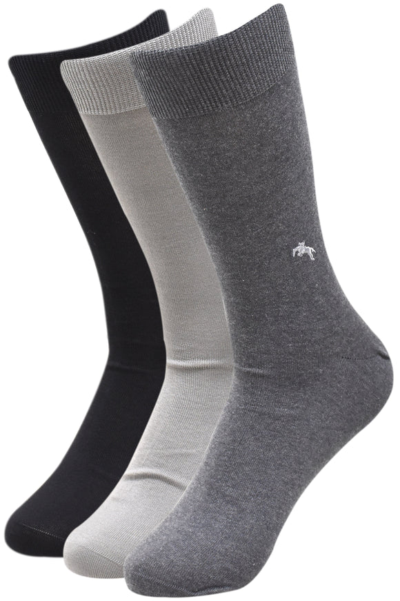 Balenzia Men's Embroidered Premium Mercerised Cotton Socks -Black, Dark Grey, Light Grey- Pack of 3 - Balenzia