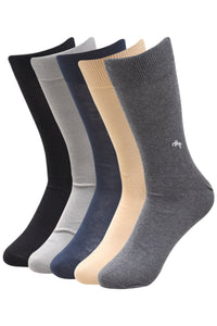 Balenzia Men's Embroidered Premium Mercerised Cotton Socks -Navy, Black, Beige, Dark Grey, Light Grey- Pack of 5 - Balenzia