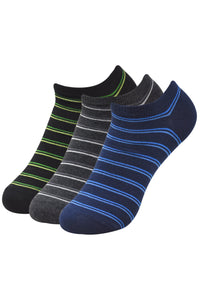 Balenzia Men' s Striped Low Cut Socks-3 Pair Pack - Balenzia
