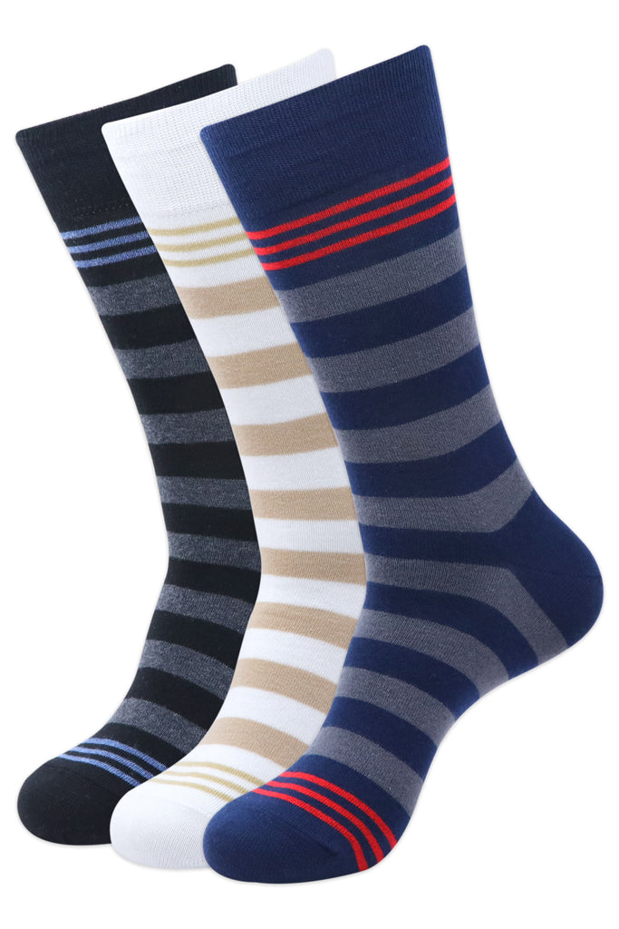Balenzia Men's Formal/Casual Striped Calf length/Crew length socks (Pack of 3)Black/D.Grey/Navy/White - Balenzia
