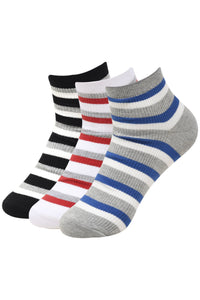Balenzia Men's Striped Cotton Ankle Socks-3 Pair Pack - Balenzia