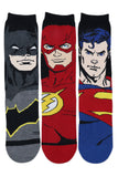 Justice League Men's Character Socks - Superman, Batman, Flash - Special Edition-Pack of 3 - Balenzia