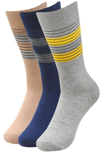 Balenzia Men's Striped Cotton Crew Socks-3 Pair Pack - Balenzia