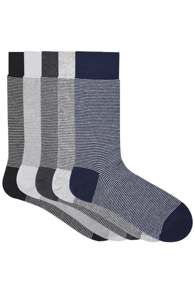 Balenzia Men's Striped Crew Socks-5 Pair Pack - Balenzia
