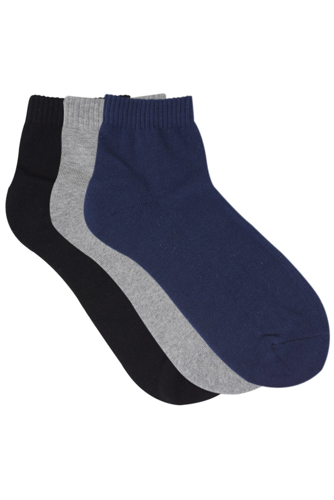 Balenzia Men basic, half cushioned solid colour sock- Navy, Black, Light Grey -Pack of 3 - Balenzia