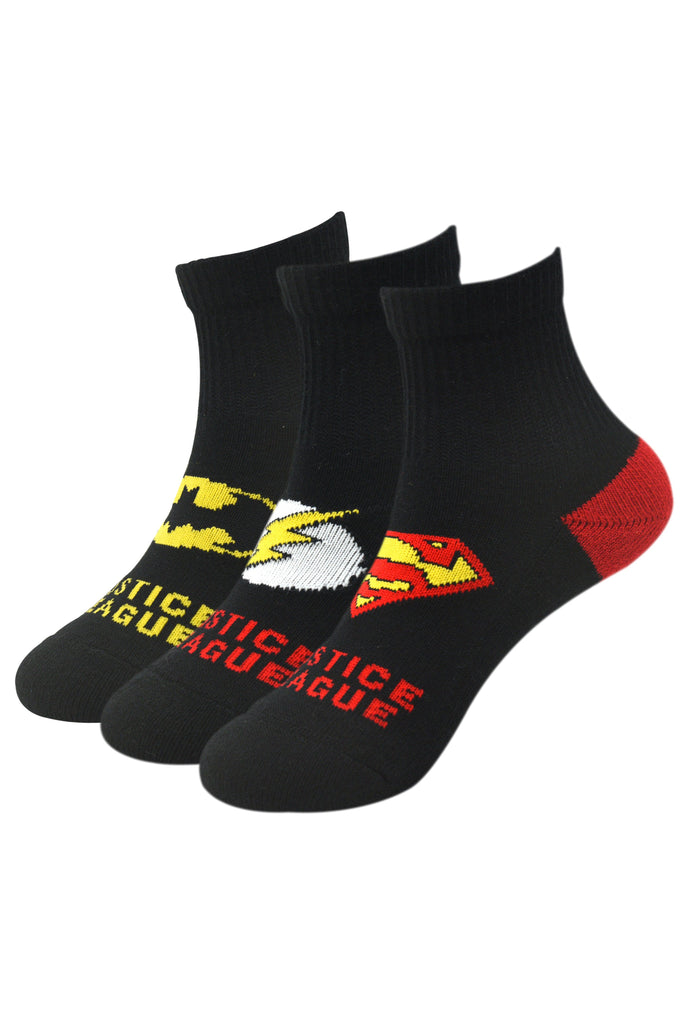 Justice League By Balenzia High Ankle Socks For Kids (Pack Of 3) - Balenzia