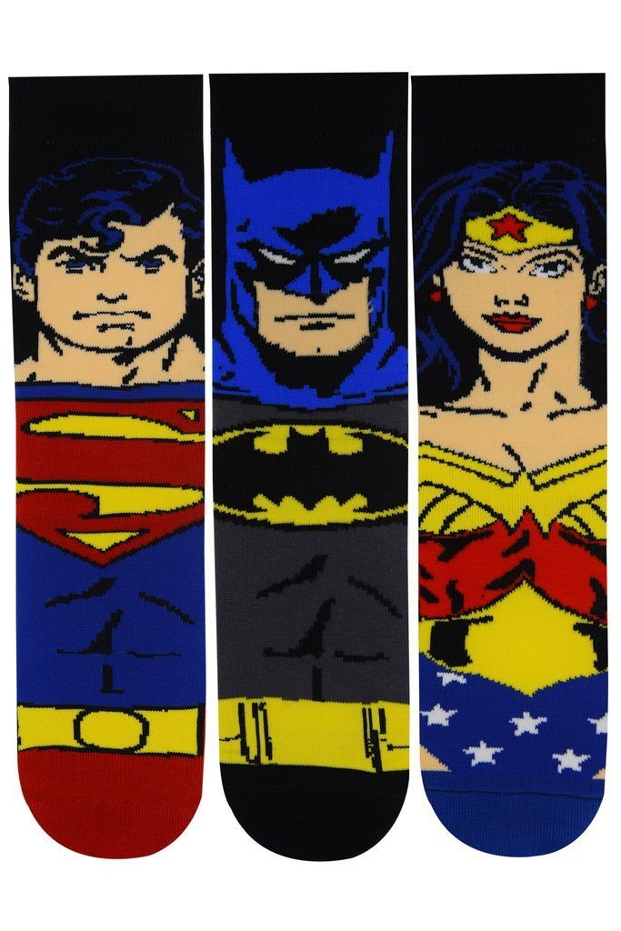 Justice League Gift Pack for Kids-Superman, Batman, Wonder Woman -Crew Socks(5-8 Years) - Balenzia