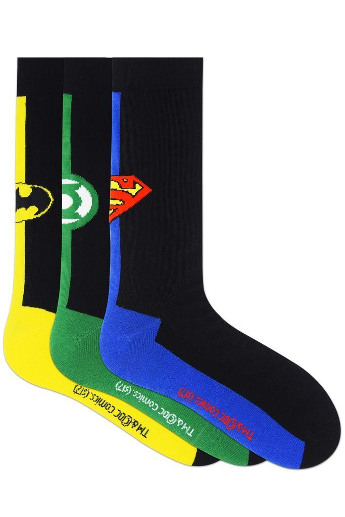 Justice League Gift Pack for Kids -Superman, Batman, Green Lantern-Crew Socks(9-12 Years) - Balenzia