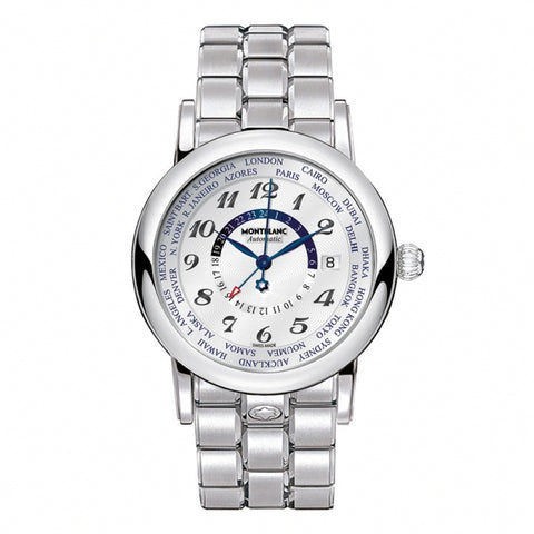 Mont Blanc Star World Time GMT Silver Dial Stainless Steel Automatic Watch 109286 для Мужчин - наручные часы