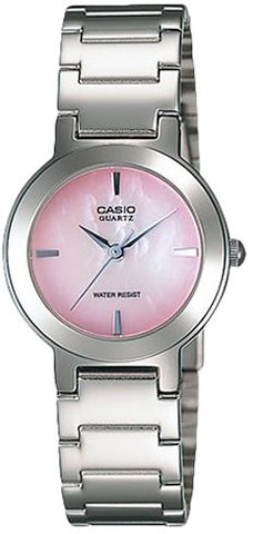 Casio Women's Pink Dial Stainless Steel Band Watch - LTP-1191A-4C