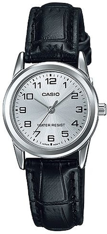 Casio Women's Silver Dial Leather Band Watch - LTP-V001L-7B