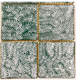 Forest Fern Coasters (Set of 5). Brass / Ceramic