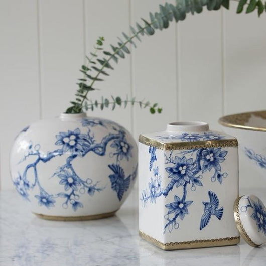 Vintage Bird Ginger Jar in Royal Blue