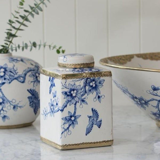Vintage Bird Square Jar in Royal Blue