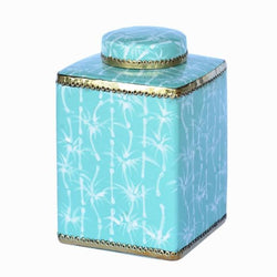 Mint Bamboo Square Jar