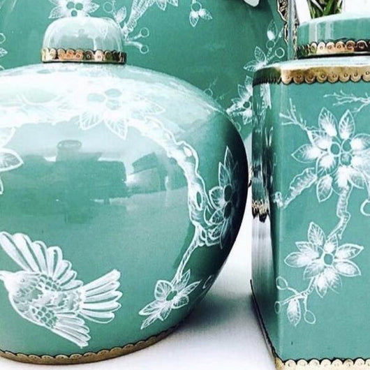 Vintage Bird Ginger Jar in Teal