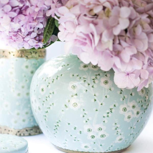 Japanese Blossom Ginger Jar Powder Blue