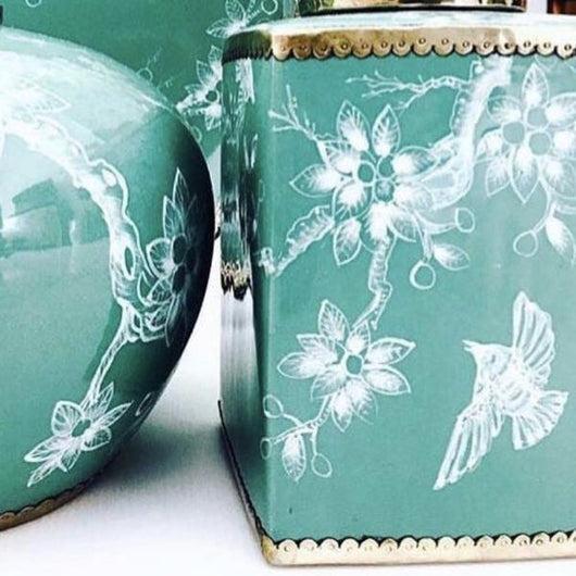 Vintage Bird Square Ginger Jar  in Dark Turquoise